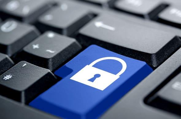 Botão de teclado com um cadeado, simulando como funciona o open banking