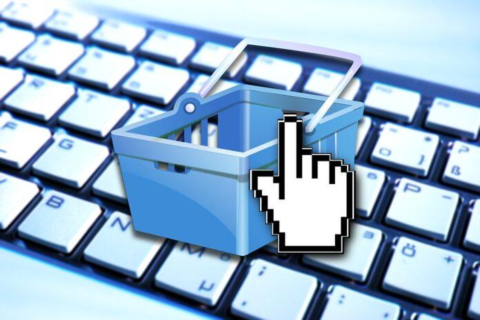 imagem de uma cesta de compra por cimka de um teclado virtual