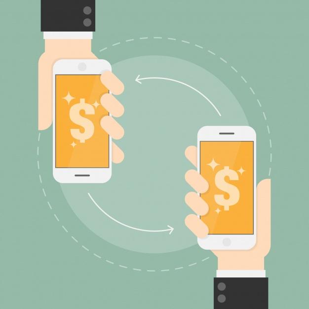 celulares realizando transferência