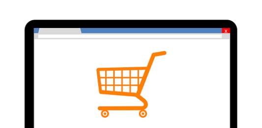 tela de computador com um carrinho de compra