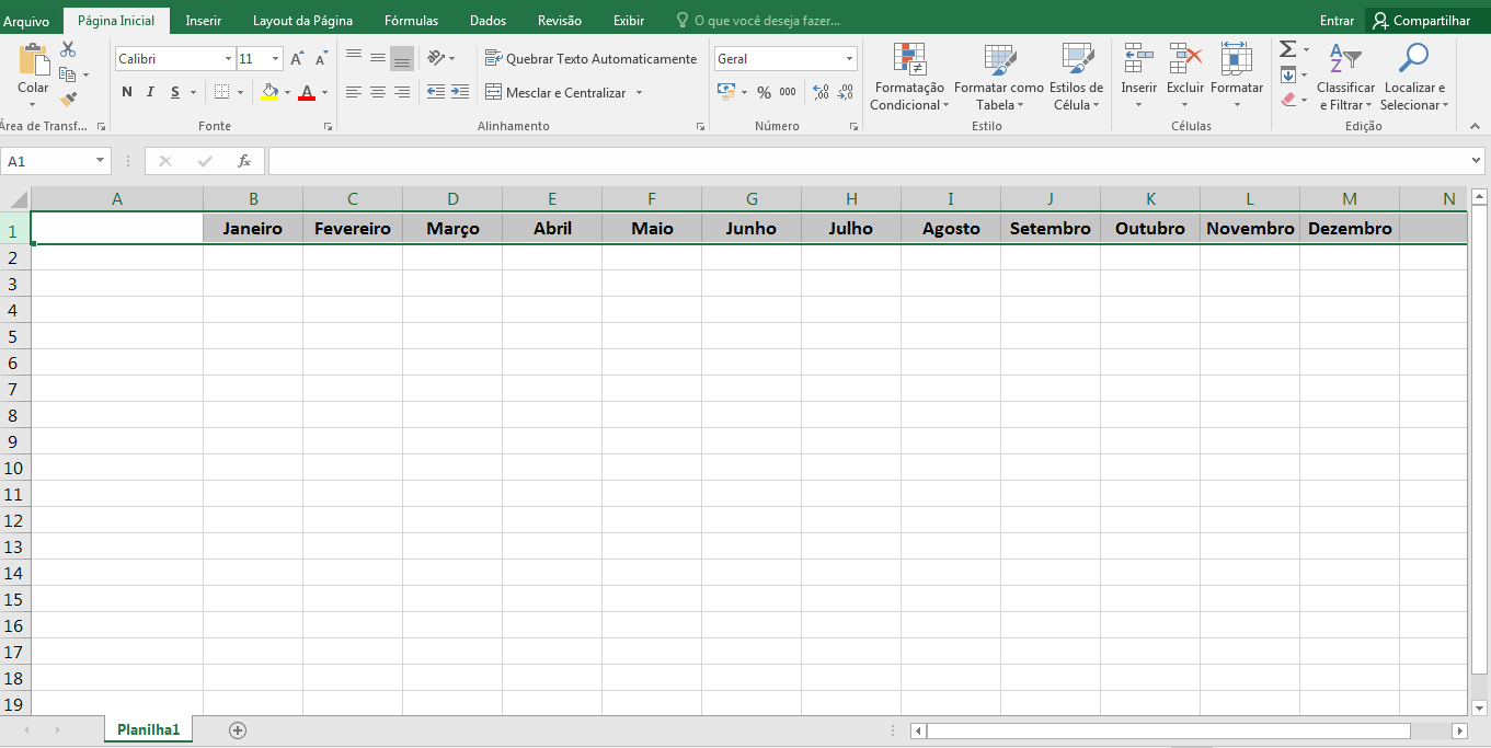 Organizar as contas no Excel