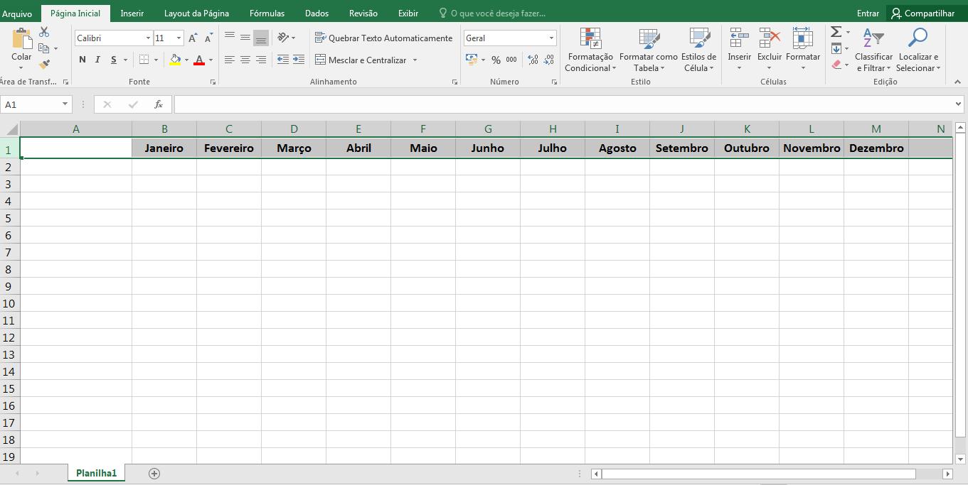 Organizar as contas no Excel