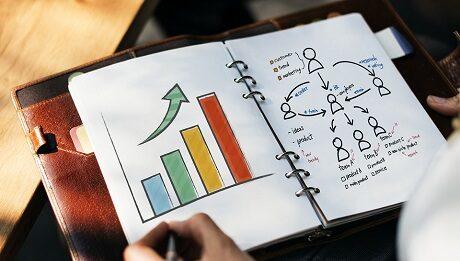 caderno como desenho de um gráfico