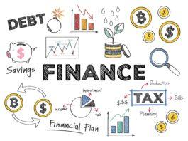 imagem com vários ícones sobre finanças
