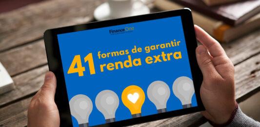 Pessoa acessando o ebook 41 formas de garantir renda pelo tablet
