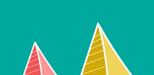 Duas pirâmides - vermelha e amarela em um fundo azul
