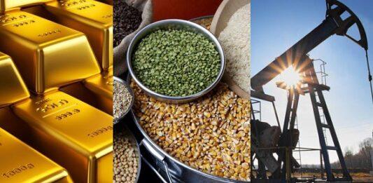 Barras de ouro, variados grãos