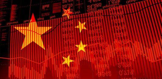 Montagem da bandeira da China em gráficos