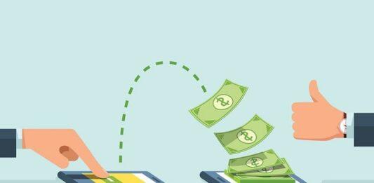 Desenho de uma mão clicando no celular com montante de dinheiro indo para outro celular e uma mão fazendo jóia
