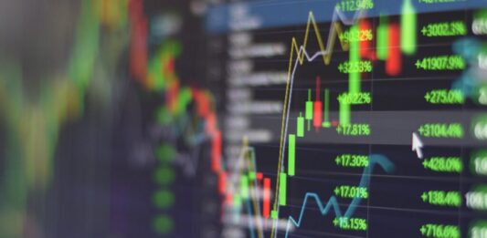 Gráficos de ações em uma tela