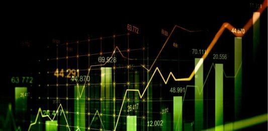 Gráficos de ações em tons de verde