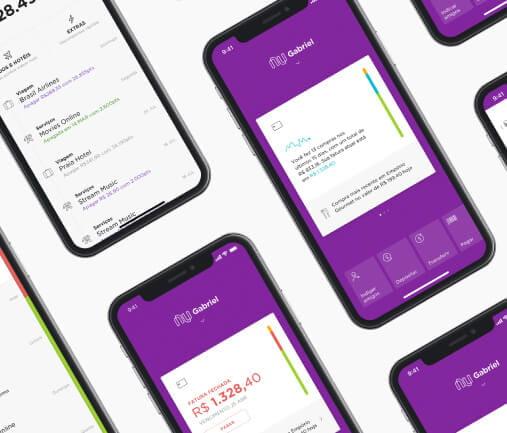 Celulares com tela do aplicativo Nubank