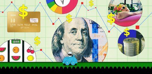 Montagem com vários desenhos de dinheiro, cartão, dólar, criptomoedas