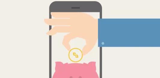 Ilustração de um celular com mão colocando dinheiro em cofrinho