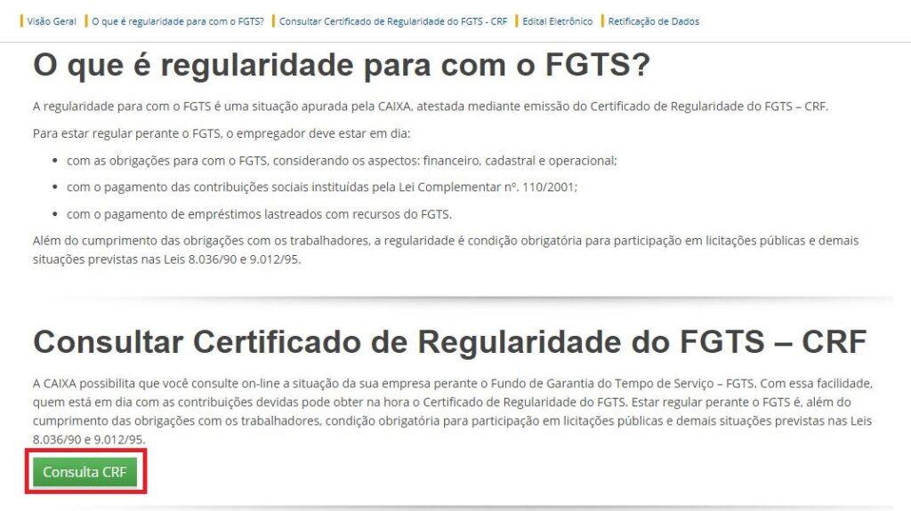 Página do FGTS para Emissão do Certificado