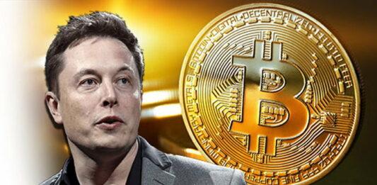 Montagem com Elon Musk e criptomoeda Bitcoin