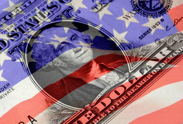 dólar com bandeira dos Estados Unidos