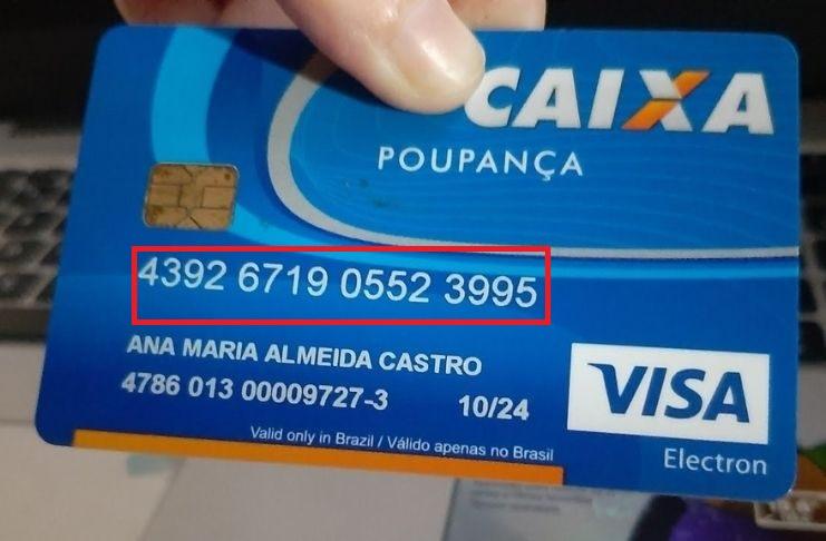 Exemplo de cartão Caixa Econômica