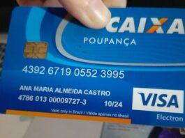 Exemplo de cartão poupança da Caixa