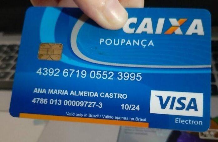 Exemplo de cartão Caixa poupança