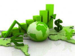 globo com gráficos da cor verde