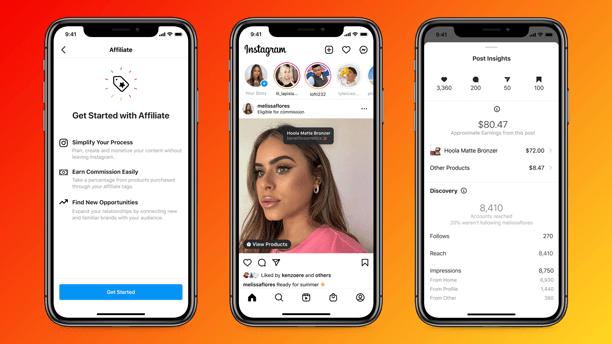 telas de celular demonstram como o Afiliados do Instagram aparecerá no feed da rede social
