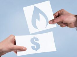 Ilustração do auxílio gás mostra pessoa trocando uma nota de dinheiro por um cartão com o símbolo do gás