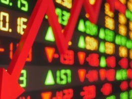 Gráfico demonstra queda na bolsa de valores por causa da crise na Evergrande
