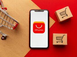 telefone com a logo da AliExpress e carrinho de compras