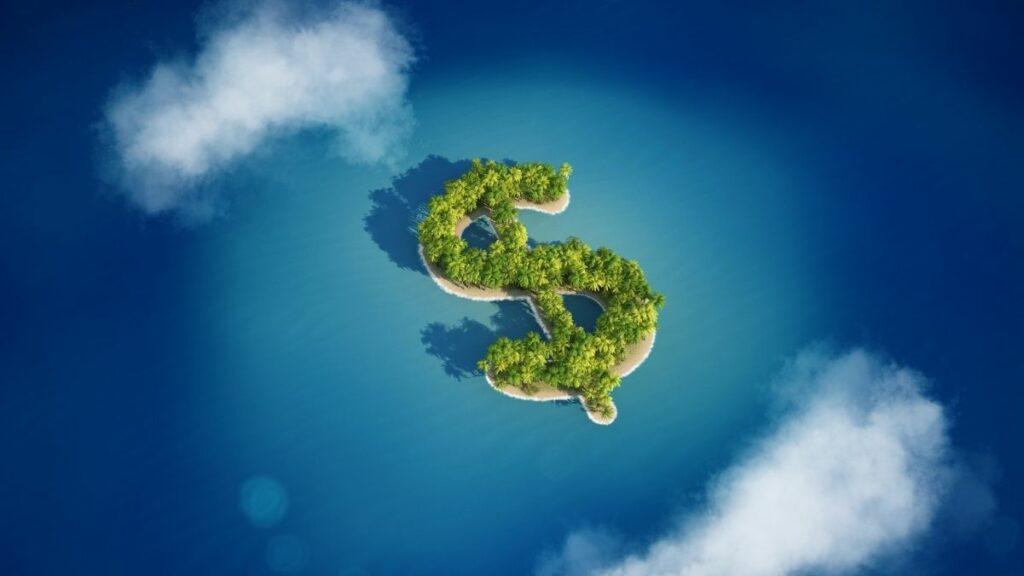 Ilustração de uma ilha em formato de cifrão representando um paraíso fiscal